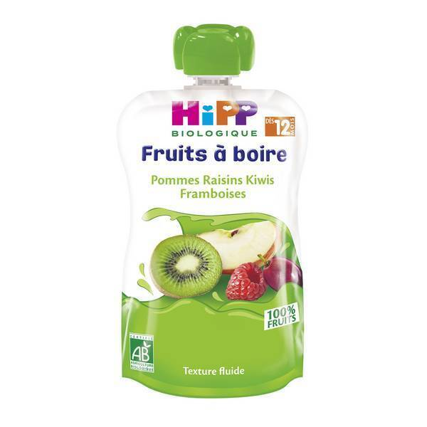 HiPP - Fruits à boire pommes raisins kiwis framboises dès 12 mois 120ml
