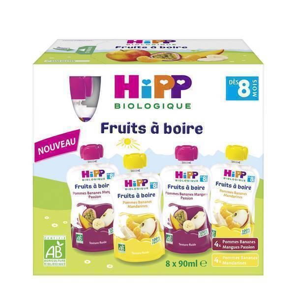 HiPP - Gourdes multipack dès 8 mois 8x90ml