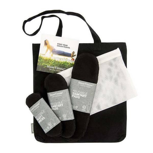 Imsevimse - Kit de démarrage serviettes hygièniques lavables noires