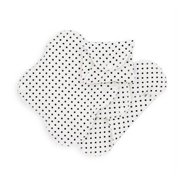 Imsevimse - Lot 3 protèges slips lavables fins pois noirs