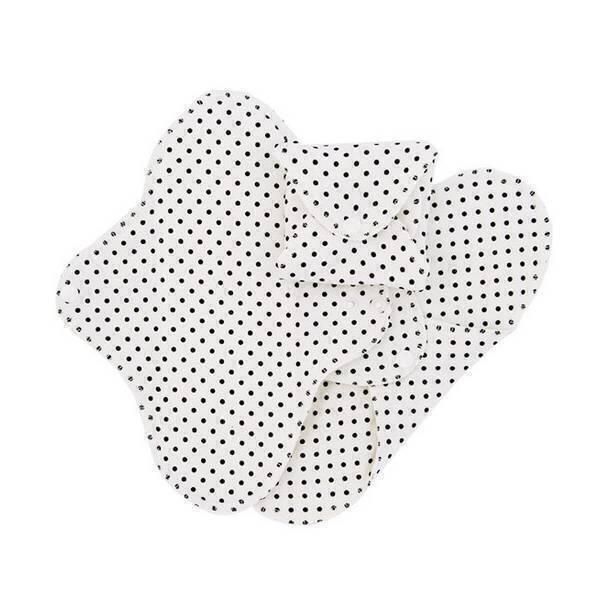 Imsevimse - Lot 3 serviettes hygiéniques jour lavables fines pois noirs