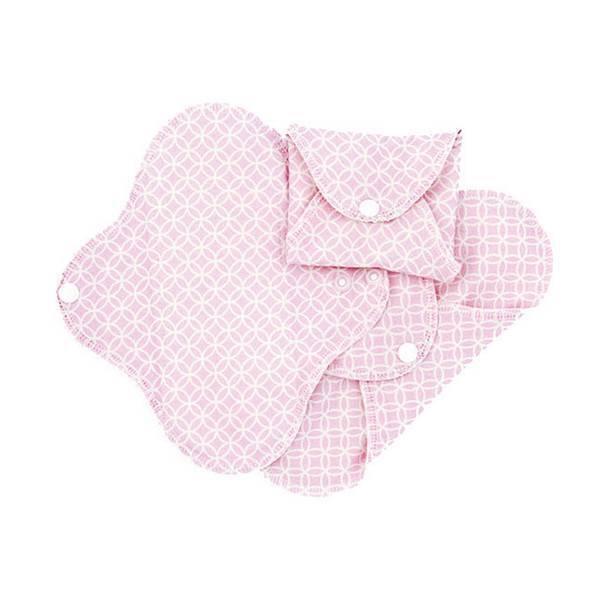 Imsevimse - Lot 3 serviettes hygiéniques jour lavables fines roses