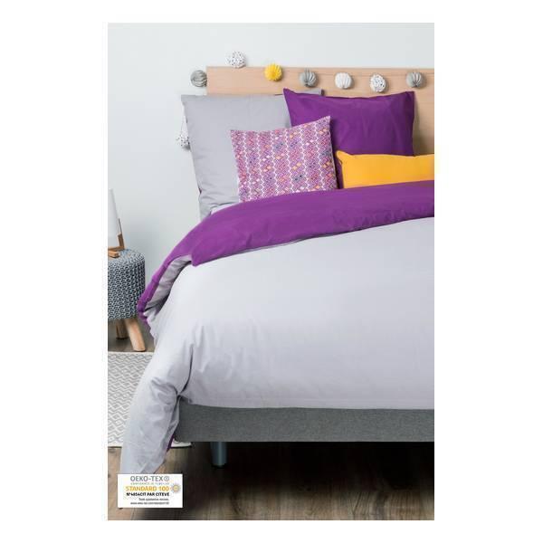 Kadolis - Parure housse de couette Gris violet + 2 taies