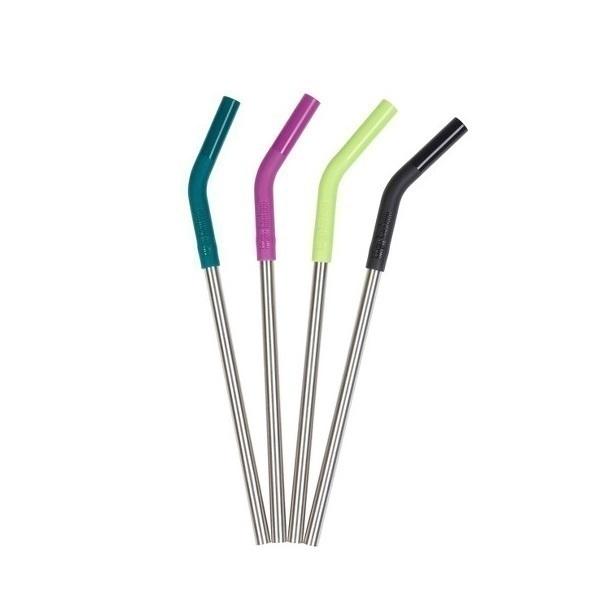 Klean Kanteen - Lot de 4 pailles inox multicolores avec embout silicone 22,6cm