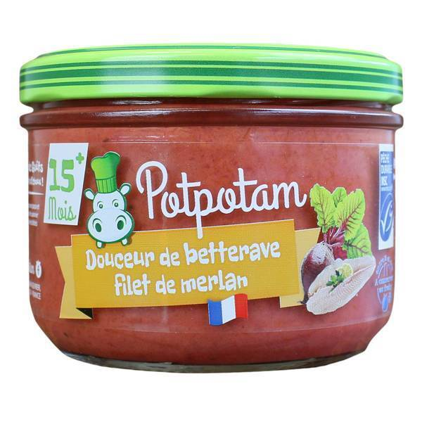 Potpotam - Petit pot douceur de betterave, filet de merlan 200g