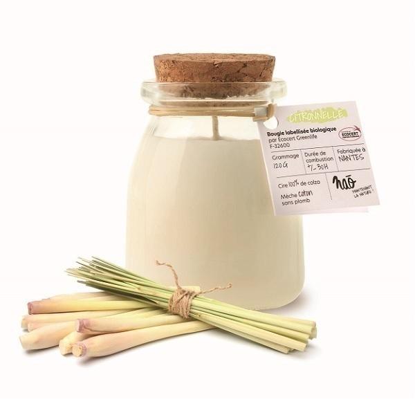 Naõ - Bougie parfumée Bio pot de yaourt Citronnelle 120g