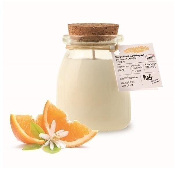 Naõ - Bougie parfumée Bio pot de yaourt Fleur d'oranger 120g