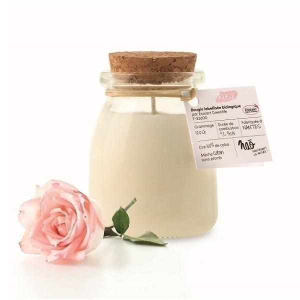 Naõ - Bougie parfumée Bio pot de yaourt Rose 120g