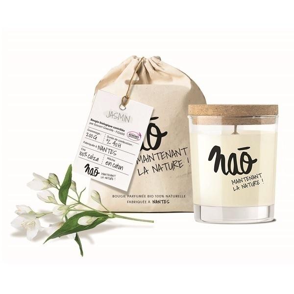 Naõ - Bougie parfumée Bio verre sérigraphié Jasmin 200g