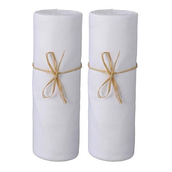 Ptit Basile - 2 draps-housses Jersey coton bio 40x80cm - Blanc