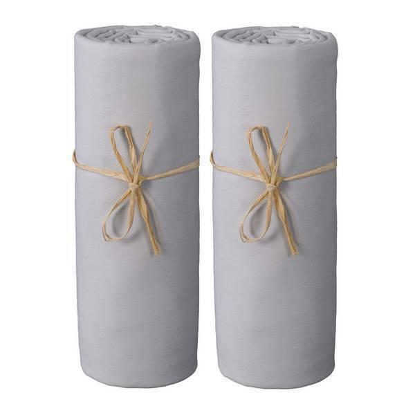 Ptit Basile - 2 draps-housses Jersey coton bio 60x120cm - Gris perle