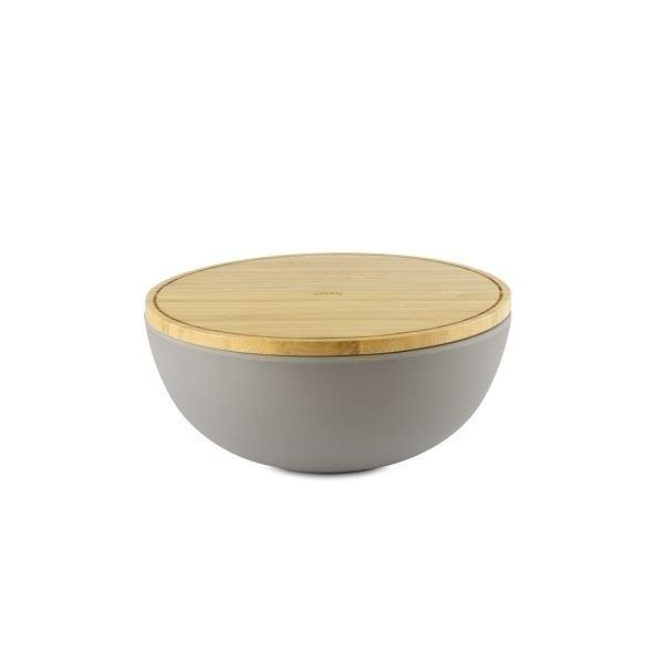 Pebbly - Bol fibre de bambou avec couvercle 19cm Gris galet