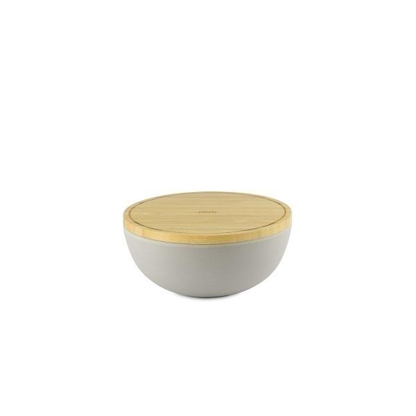 Pebbly - Bol fibre de bambou avec couvercle 13,8cm Gris perle