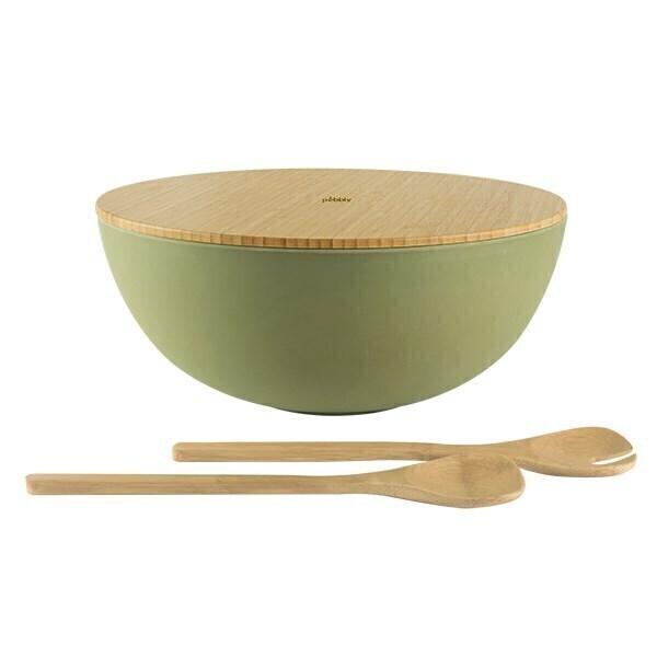 Pebbly - Saladier fibre de bambou avec couvercle et couverts 30cm Vert