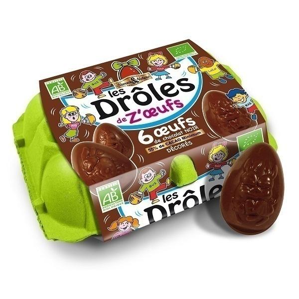 Saveurs & Nature - Boite de 6 œufs au chocolat noir 55% cacao 90g