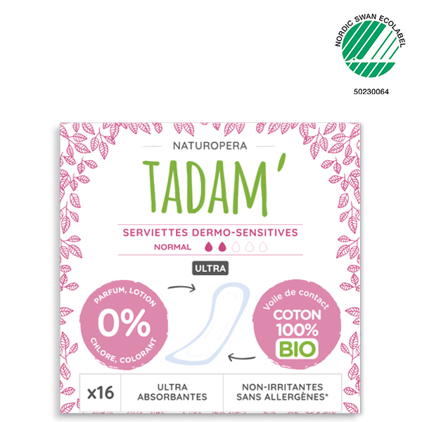 Tadam' - 16 Serviettes au Coton BIO Non-Irritantes, Ultra Normal