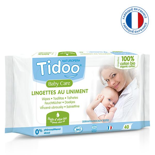 Tidoo - 40 Lingettes Bio au Liniment et Coton Bio