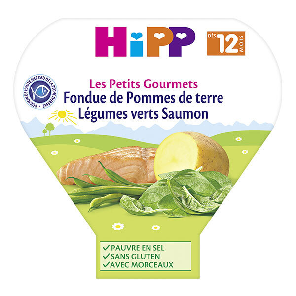 HiPP - Fondue de Pdt Légumes Verts Saumon dès 12 mois x 230g