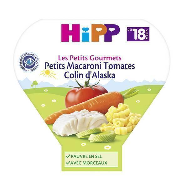 HiPP - 1 assiette macaroni tomates colin d'Alaska dès 18 mois 260g