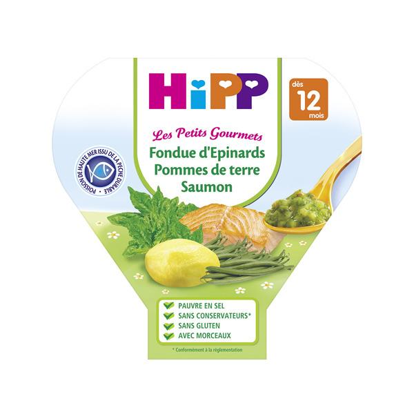 HiPP - 1 Assiette Epinards p. de terre saumon 12 mois 230g