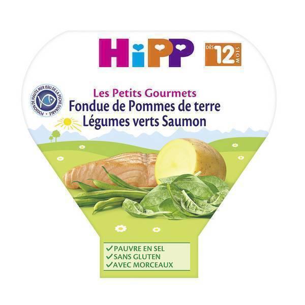 HiPP - Fondue P. de terre légumes verts saumon dès 12 mois 230g