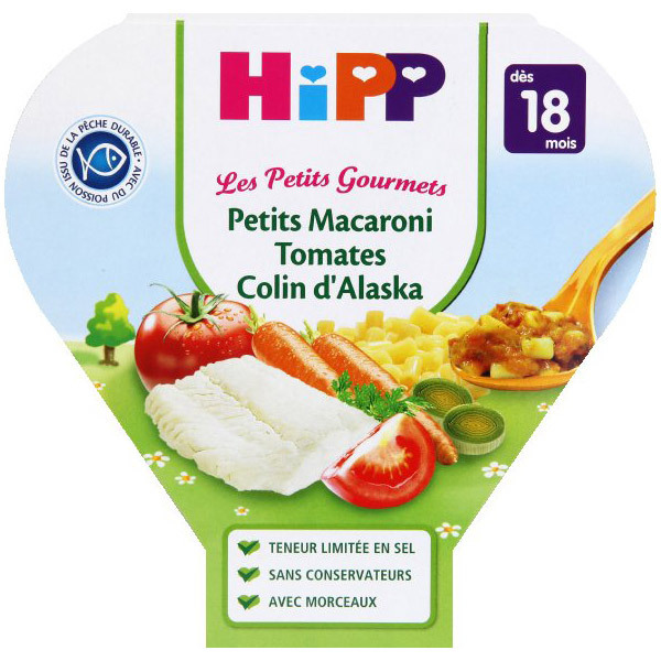 HiPP - 1 Assiette Macaroni tomates colin d'Alaska 18 mois 260 gr