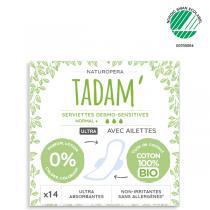 Tadam' - 14 Serviettes Ultra Normal + avec Ailettes au Coton BIO