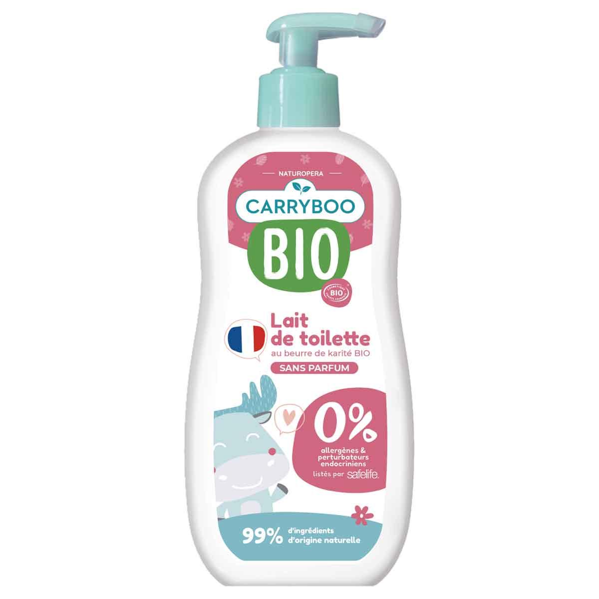 Carryboo - 2x Lait de Toilette BIO (500ml) Tout Doux et Sans Parfum