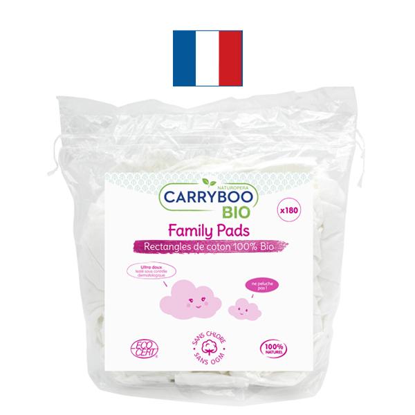 Carryboo - 2x180 Rectangles de Coton BIO Ultra Doux, ne peluchent pas