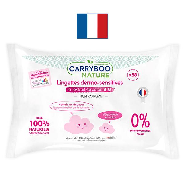 Carryboo - 3x58 Lingettes Sans Parfum, Extrait de Coton BIO
