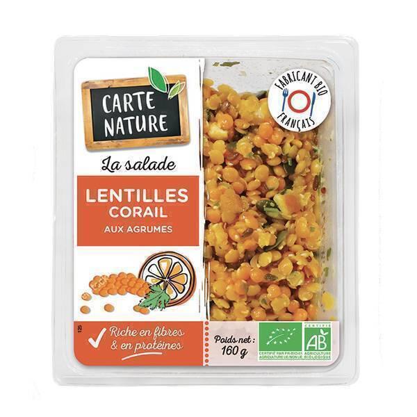 Carte Nature - Salade lentilles corail agrumes 160g