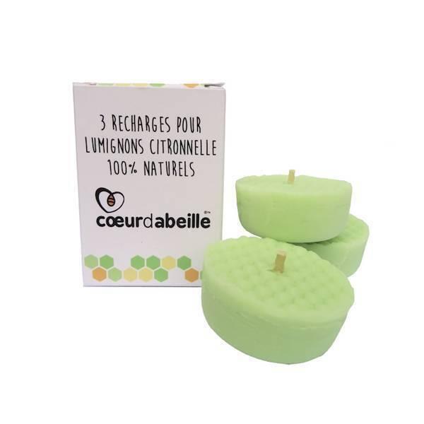 Coeur d'Abeille - Recharges pour lumignon Citronnelle 3 x 25g