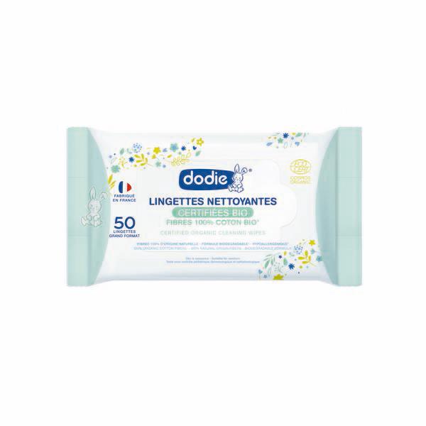 Dodie - 50 Lingettes nettoyantes bio
