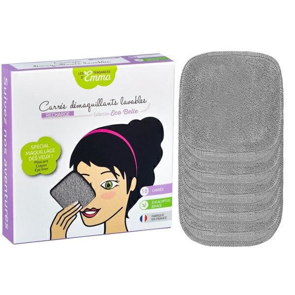 Les Tendances d'Emma - 10 carrés démaquillants lavables eucalyptus gris