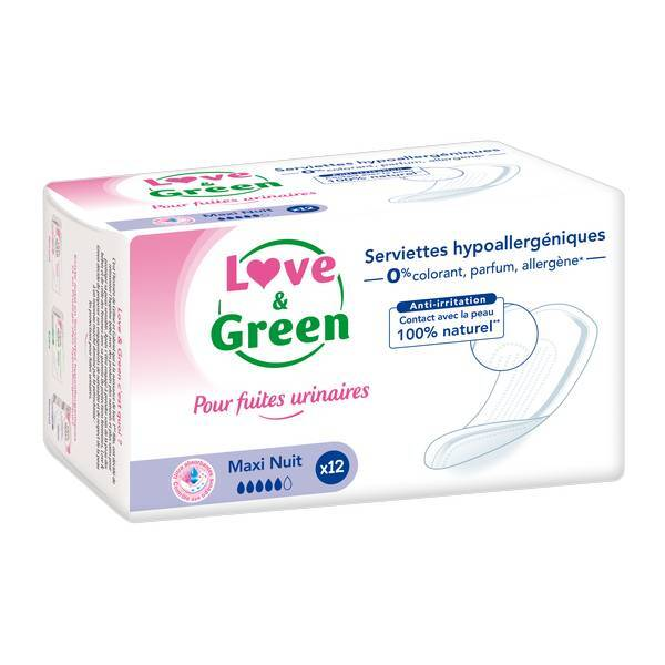 Love & Green - 12 Serviettes incontinence Nuit