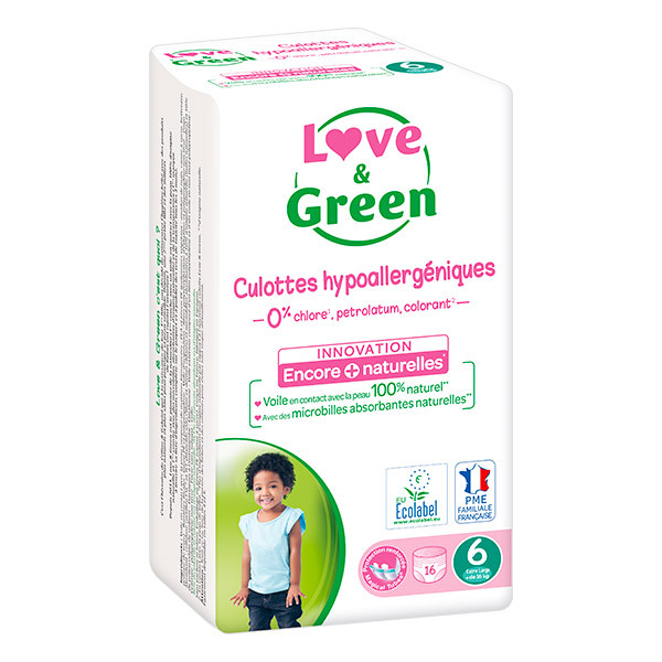 Love & Green - Pack 8x16 Culottes apprentissage T6 Extra large +16kg