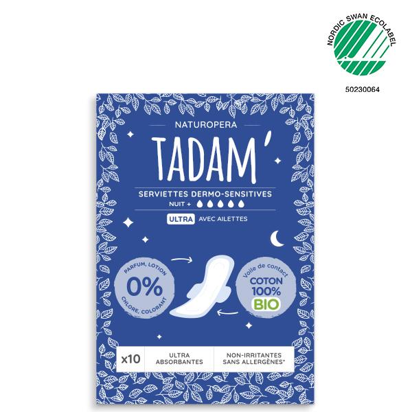 Tadam' - 10 Serviettes Ultra  avec Ailettes Nuit + au Coton BIO