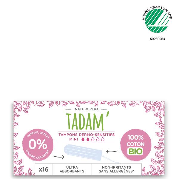 Tadam' - 16 Tampons en Coton BIO Non-Irritants, Mini