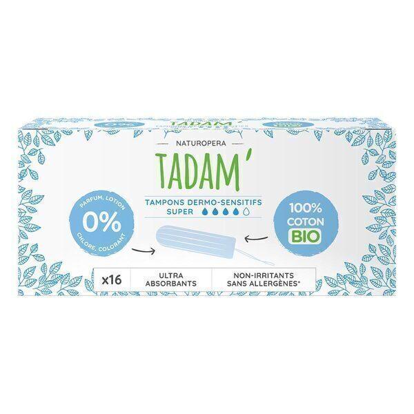 Tadam' - 16 Tampons en Coton BIO Non-Irritants, Super