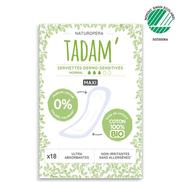 Tadam' - 18 Serviettes au Coton BIO Non-Irritantes, Maxi Normal