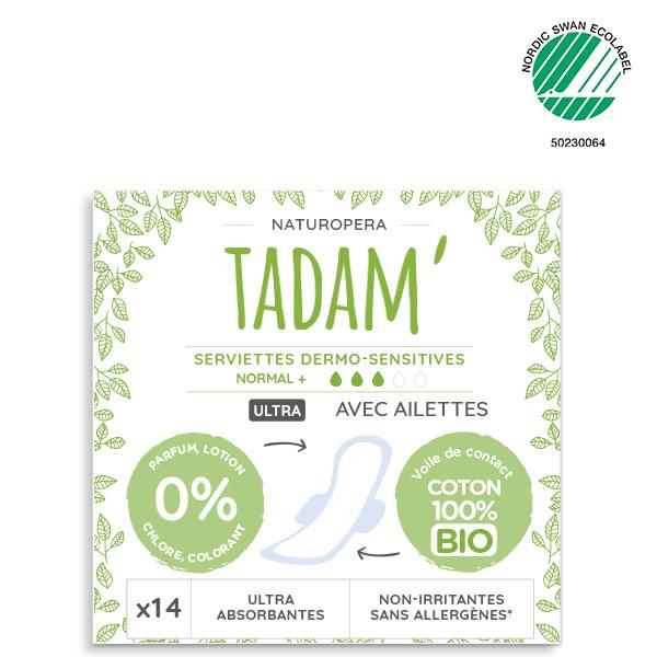 Tadam' - 3x14 Serviettes Ultra Normal + avec Ailettes au Coton BIO