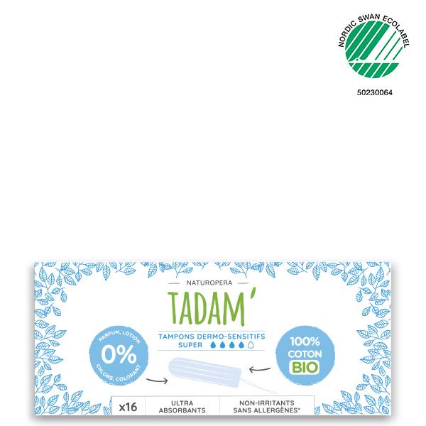 Tadam' - 3x16 Tampons en Coton BIO Non-Irritants, Super