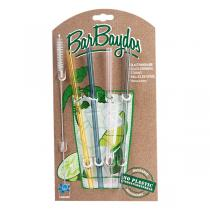 BarBaydos - Set de 4 pailles droites en verre assorties 21cm
