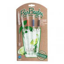 BarBaydos - Set de 4 pailles droites en verre colorées 21cm