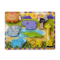 Melissa & Doug - Puzzle grosses pièces en bois Safari - Dès 2 ans