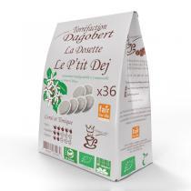 Les cafés Dagobert - Café dosette bio P'tit Dej x 36