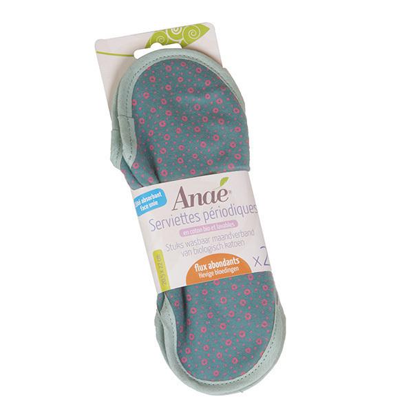 Anaé - Lot 2 serviettes hygiéniques lavables flux abondants Cercles