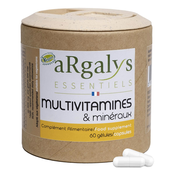 Argalys Essentiels - 12 Vitamines Magnésium et 5 Minéraux - 60 gélules