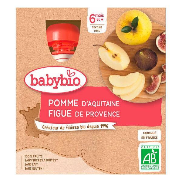 Babybio - Gourde à la pomme d'Aquitaine et figue 4 x 90g - Dès 6 mois