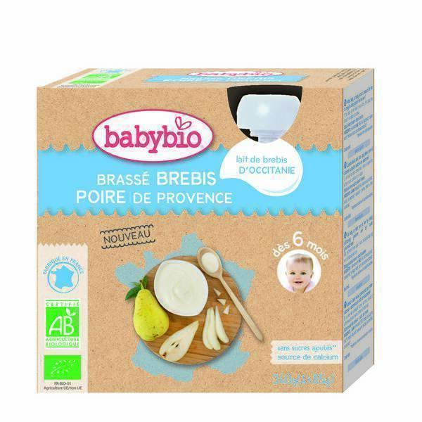 Babybio - Gourde brassée au lait de brebis et poire de Provence 4x85g